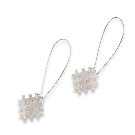 Grid Dangle Earrings - all silver - on hooks