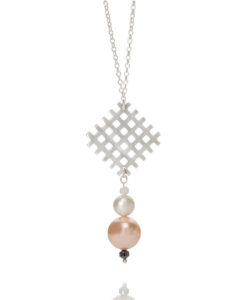 Grid Pendant and Pearl Necklace - sterling silver, pearls and semi precious stones