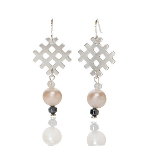 Grid and Pearl Dangle Earrings - sterling silver , pearls and natural stones - on hooks