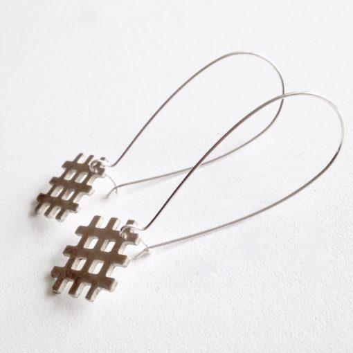 Grid Dangle Earrings - all terling silver - on hooks