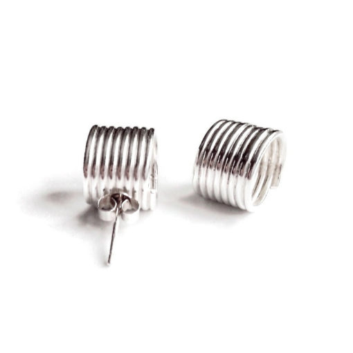 Spring Coil Stud Earrings - Maxi - silver
