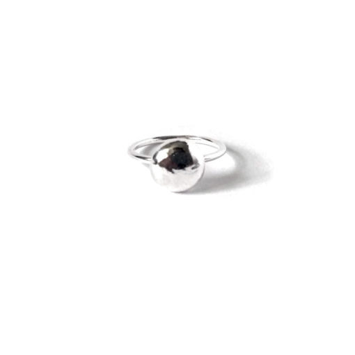 Maxi Candy Stacking Ring - Round pebble silver ring on white background