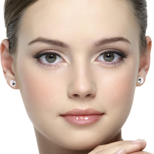 Model face wearing silver round pebble stud earrings