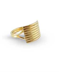Gold Striped Ribbed Textured Ring - against white background and drop shadow