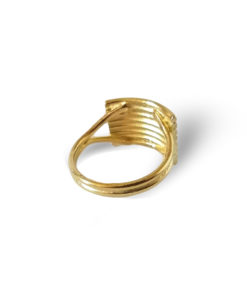 Gold Striped Ribbed Textured Ring- against white background and drop shadow
