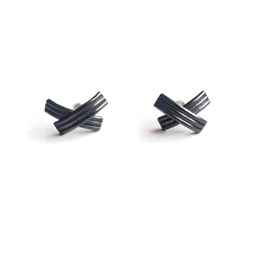 XX oxidised silver stud earrings - seen from the front - on white background