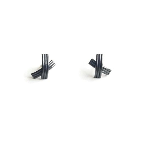 XX oxidised silver stud earrings - standing upright - on white background