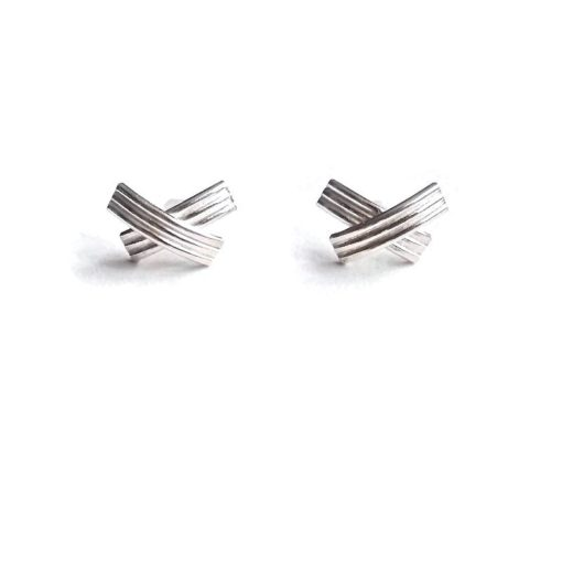 XX shiny silver stud earrings - on white background
