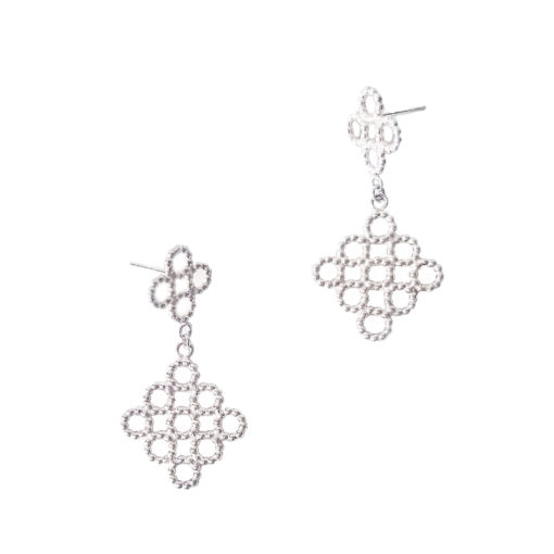 Silver Beaded Quatrefoil Dangle Earrings - on white background