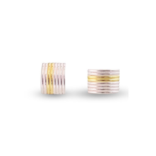 Maxi-Silver-&-Gold-Striped-Ribbed-Studs - one upright one sideways - on white background