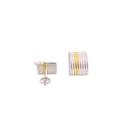 Maxi-Silver-&-Gold-Striped-Ribbed-Studs - seen one from the back and one from the front - on white background