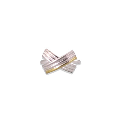 Gold and Silver Striped Bow Ring - seen from the front - on white background