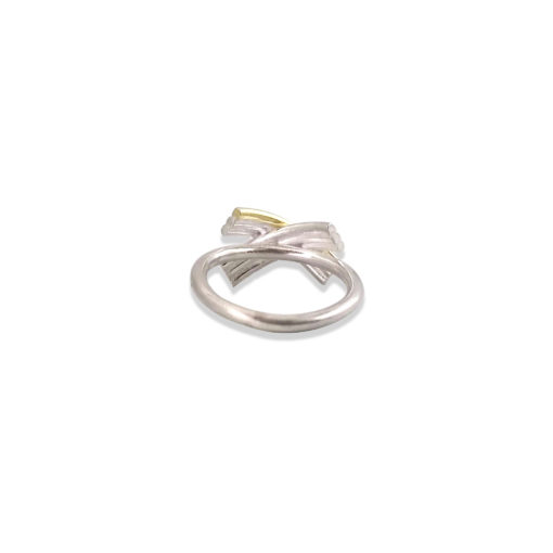 Gold and Silver Striped Bow Ring - seen from the back - on white background