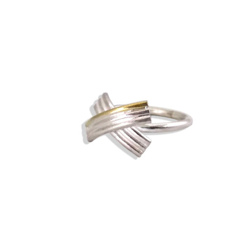 Gold and Silver Striped Bow Ring - seen from the side - on white background