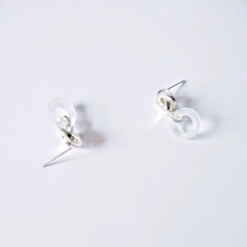 Graphic Rose Dangle Earrings - silver and frosted rock crystal - on white background