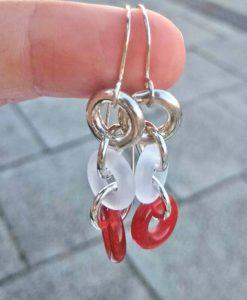 Torus Long Chain Dangle Earrings - Carnelian