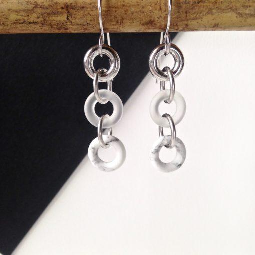 Torus Long Chain Dangle Earrings - Howlite