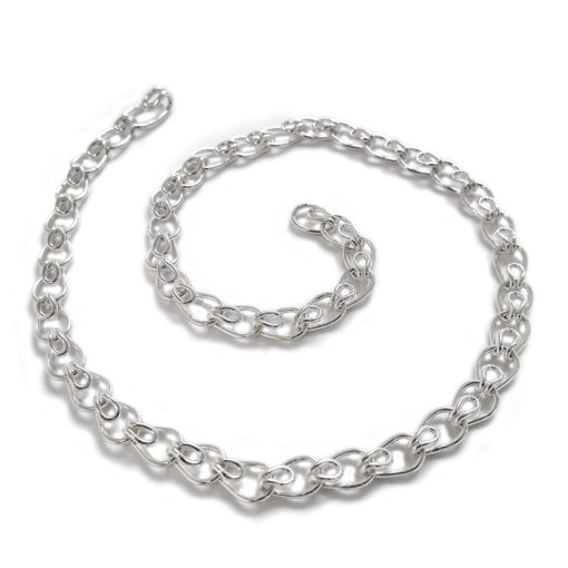 Leaves chain necklace - silver necklace shown open and in a swirl - on white background