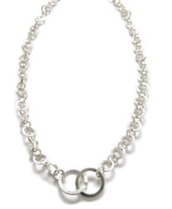 Nought Chain Necklace - silver necklace on white background