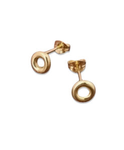 18k Yellow Gold Mini Torus Stud Earrings - on white background