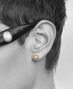 18k-Yellow Gold-Mini-Torus-Stud Earrings - on model