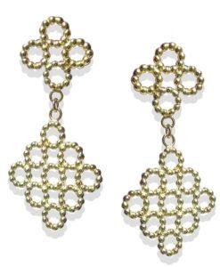 18k Yellow Gold Quatrefoil Dangle Earrings - on white background