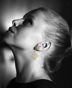 Gold Quatrefoil Dangle Earrings - on model