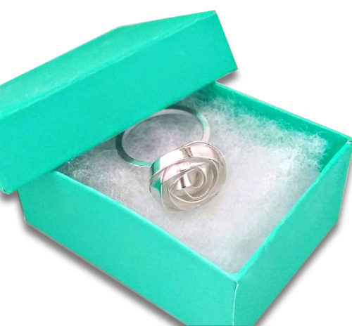 Essemgé COVI-19 service update - bespoke silver ring in turquoise box