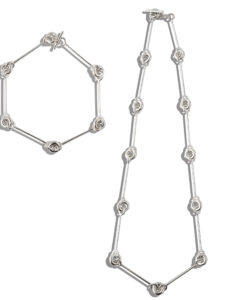 Mini Torus Chain Necklace and Bracelet Set - Silver - Flat Layout on White Background