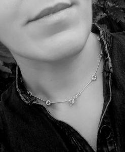 Silver Mini Torus Chain Necklace - worn