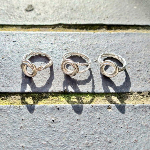 Silver Modern-Rose-ring-collection - 3 ring variations