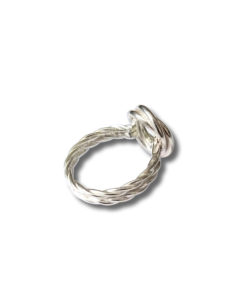 Silver Modern-Rose-ring-with-double-shank - side view - on white background