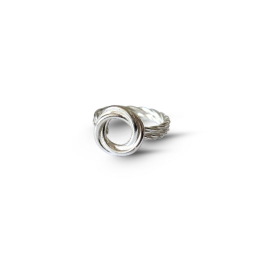 Silver Modern Rose Ring with double shank - on white background