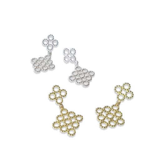 Quatrefoil Dangle Earrings - Gold and Silver - on white background