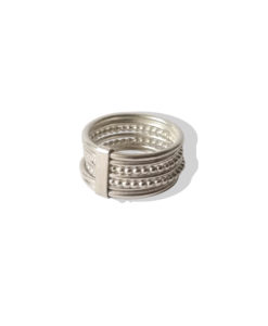 Silver Semainier Ring - 7 Connected Stacking Rings in silver - on white background