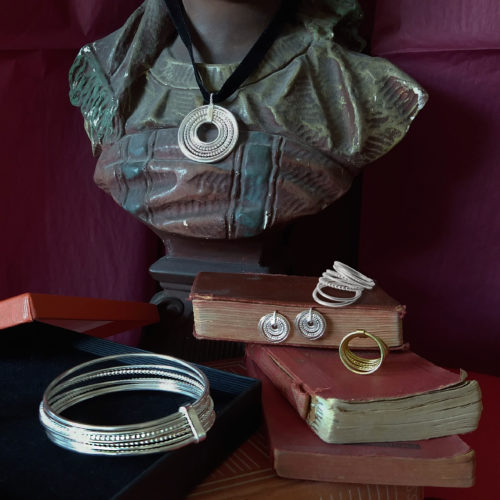 Scheherazade jewellery capsule collection - gold and silver jewellery pieces as still life painting