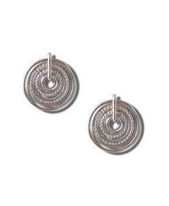 Silver-Semainier-Stud Earrings - on white background