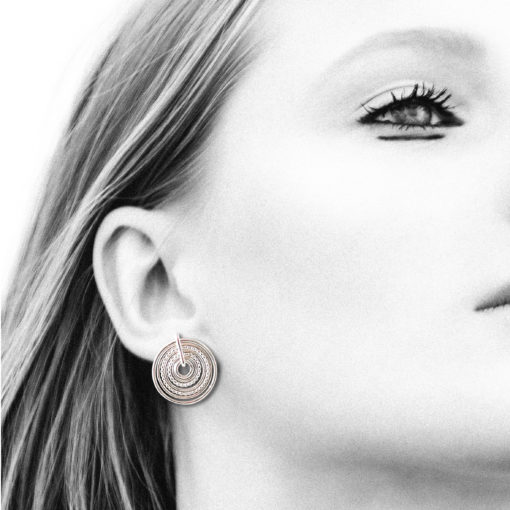 Silver-Semainier-Stud Earrings---on-model - black and white photo
