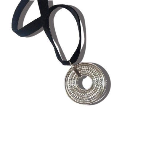 Silver-Semainier-Pendant Necklace - on black velvet ribbon