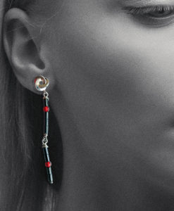 Graphic Rose Cocktail Earrings - Silver, Hematite and Carnelian - photographed on a model