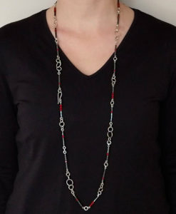 Nought Chain Sautoir - Silver, Hematite, Carnelian - worn in its full length