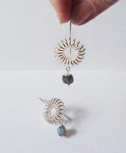 Round-Coil-Dangle-Earrings-Silver Labradorite - 1 laying on white background, 1 held between index finger and thumb - on white background