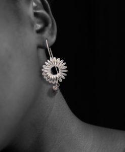 Round-Spring-Dangle-Earrings-Silver-Labradorite - on model