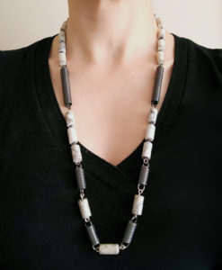 Black & White Spring Coil Opera Necklace-Silver & Howlite-on model