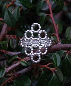 Silver Beaded Quatrefoil Ring - shown from the front