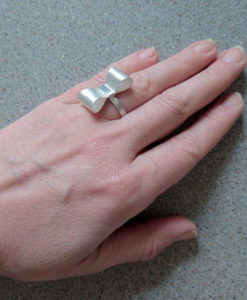 Silver Bowknot Ring - on model