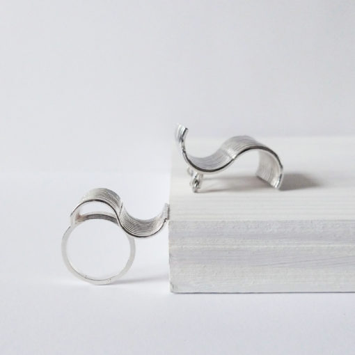 Silver Wave range - ring and brooch - on white display